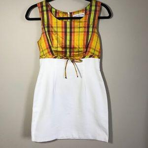 Vintage Trina Turk Mini Dress Plaid Bodice Sz 2